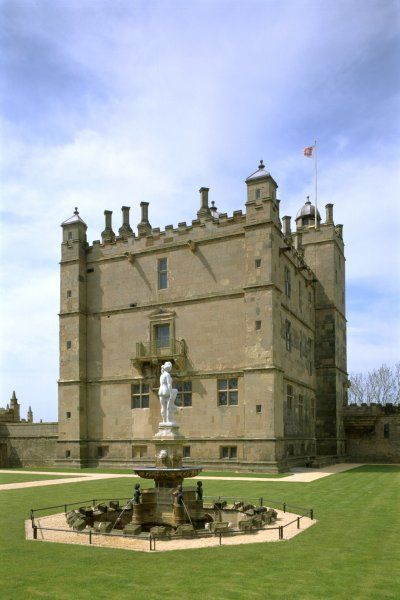 BOLSOVER CASTLE, Derbyshire. View of the Little Castle from the south with the Venus fountain in the foreground