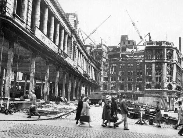 GREAT CHARLOTTE STREET, Liverpool. View of bomb damage and pedestrians going about their daily routines, May 1941