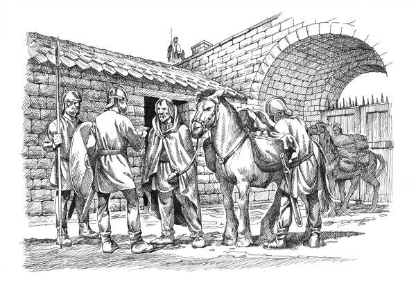 Hadrian's Wall. Reconstruction line drawing of a traveller and his horse being assessed by Roman soldiers on the southern side of Knag Burn Gateway. The gateway was one of the few gates through Hadrians Wall unattached to a milecastle or fort