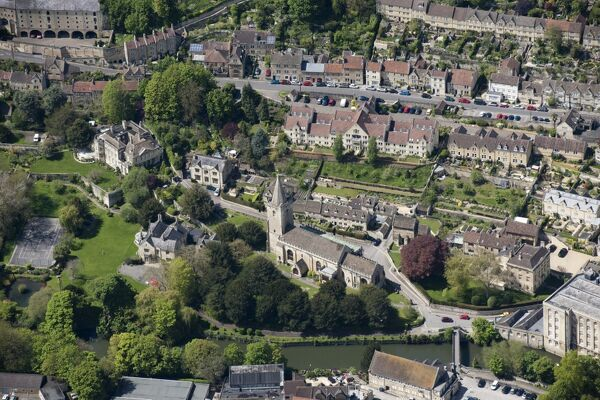 Bradford-on-Avon, Wiltshire. Aerial view showing Holy Trinity Church and the River Avon