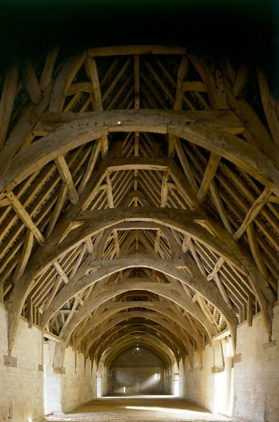 BRADFORD ON AVON TITHE BARN, Wiltshire. Interior view of the timber-cruck roof
