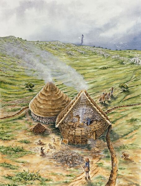BREAN DOWN, Somerset. Reconstruction drawing of Bronze Age huts, by Peter Dunn (English Heritage Graphics Team)