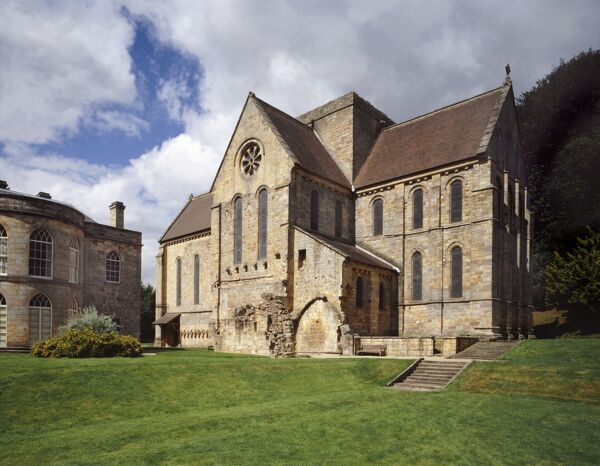 BRINKBURN PRIORY, Northumberland. View of the Manor House and Church from the South East