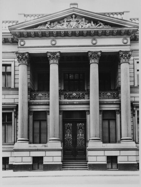 British Embassy, 70 Wilhelmstrasse, Berlin. The porticoed main entrance. The Palais Strousberg, designed by Augustus Orth, dated from 1867-8. The British government purchased it as an Embassy in 1884. Photographed in 1939 before the outbreak of war
