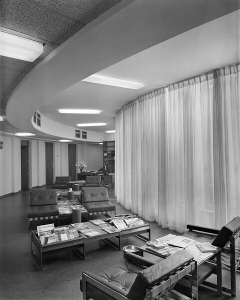 British Embassy Offices, 16 Calle Fernando El Santo, Madrid, Spain. Interior - a waiting area on a circular corridor. Photographed in 1966 for the Ministry of Public Building and Works
