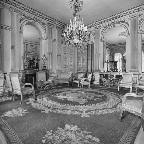 British Embassy (Hotel De Charost), 39 Rue De Fauborg Saint Honore, Paris, France. The Salon Bleu in the Ambassador's residence photographed in 1960 Ministry of Public Building and Works