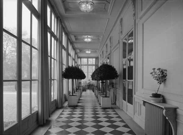 British Embassy (Hotel De Charost), 39 Rue De Fauborg Saint Honore, Paris, France. Looking along the gallery beside the ballroom at the Hotel de Charost, the British Ambassador's residence in Paris. Photographed in 1964 for the Ministry of Public Building