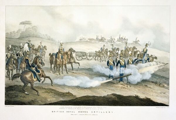 Engraving of British Napoleonic soldiers produced in London. Royal Horse Artillery Rocket Troop (Review Order). In 1815 at the Battle of Waterloo, Major Whinyates Rocket Troop were attached to the Cavalry Corps, and equipped with both rockets and cannon