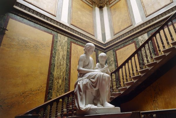 BRODSWORTH HALL, South Yorkshire. Interior view. Inner Hall. Staircase and statuary