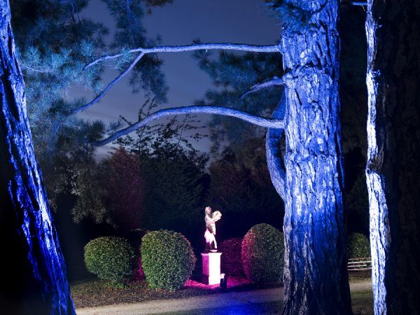BRODSWORTH HALL, South Yorkshire. General view of gardens at night during a son-et-lumiere event