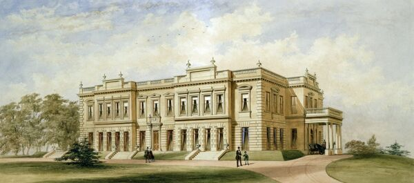 BRODSWORTH HALL, South Yorkshire. Watercolour painting of the hall by the architect