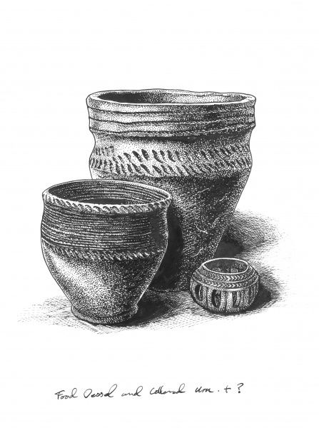 BRONZE AGE BRITAIN. Bronze Age food vessel, Collared Urn and incense pot. Reconstruction drawing by Peter Dunn (English Heritage Graphics Team)