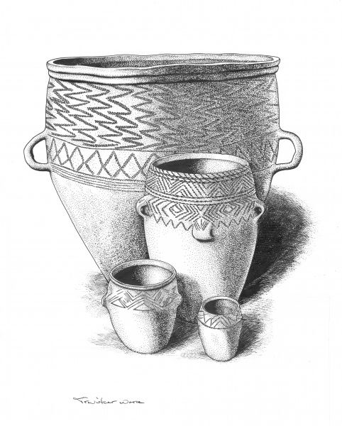 BRONZE AGE BRITAIN. Group of Trevisker Ware Bronze Age pots. Reconstruction drawing by Peter Dunn (English Heritage Graphics Team)