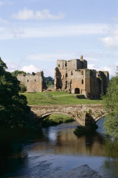 BROUGHAM CASTLE, Cumbria. The Castle from the east seen across the River Eamont