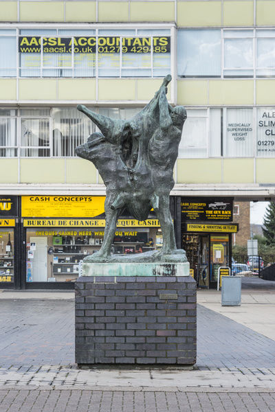 Meat Porters (1959) by Ralph Brown, Market Square, Town Centre, Harlow, Essex. General view from the south east. Photographed by Steven Baker 2015