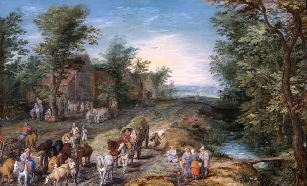 "APSLEY HOUSE, London. ""Road Scene with Travellers and Cattle"" by Jan BRUEGHEL the elder (1568-1621). WM 1639-1948. From Spanish Royal Collection. Captured by the Duke of Wellington at Vitoria 1813"