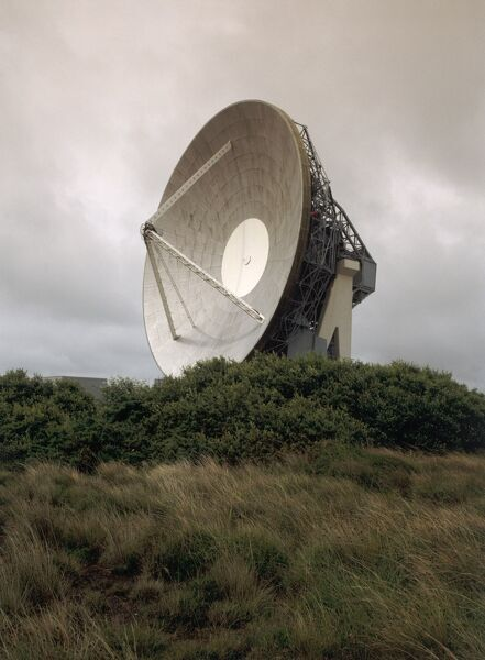 BT EARTH SATELITE STATION, Cornwall. Antenna No. 1. against a grey sky