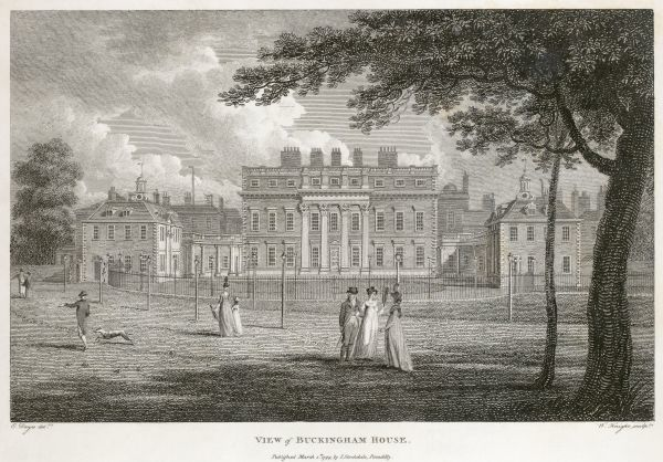 "BUCKINGHAM PALACE, Buckingham Palace Road, City of Westminster, London. ""View of Buckingham House"" dated 1799. W Knight sculp. Line engraving from the Mayson Beeton Collection"