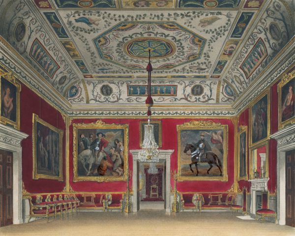 "BUCKINGHAM PALACE, Buckingham Palace Road, City of Westminster, London. Interior view. Coloured aquatint dated 1817 by I Stephanoff. From ""The history of royal residences..."" by W H Pyne 1819. Engraving from the Mayson Beeton Collection"