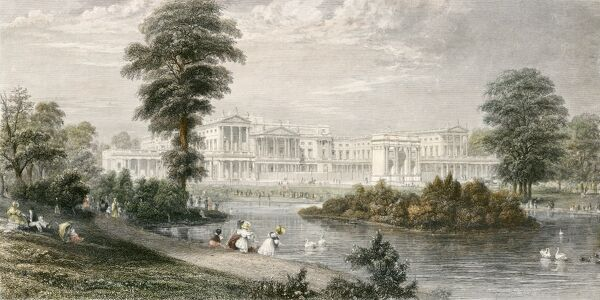 BUCKINGHAM PALACE, Buckingham Palace Road, City of Westminster, London. Coloured engraving dated 1835. Thomas Higham drawn and engraved. From the Mayson Beeton Collection