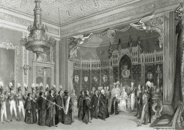 BUCKINGHAM PALACE, Buckingham Palace Road, City of Westminster, London. Interior of the Throne Room. Engraving dated 1840. From the Mayson Beeton Collection