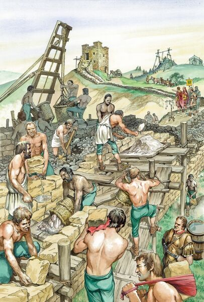 HADRIAN'S WALL, Cumbria. Reconstruction drawing by Philip Corke showing the construction of Hadrian's Wall to the immediate west of Banks East Turret (Turret 52a), in the early second century AD. Workers are building the faces of the wall