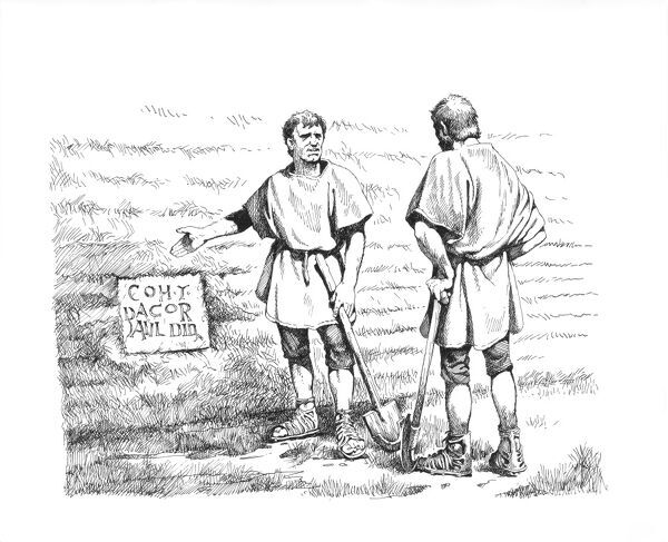 Hadrian's Wall. Reconstruction line drawing of two second-century Roman soldiers or Romano-British workers standing beside an inscribed building stone. This one is set into the south vallum wall (linear earthwork) at Benwell Vallum Crossing