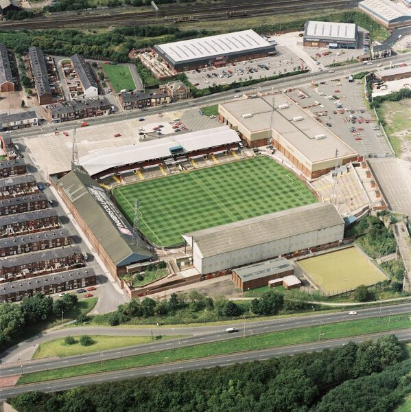 BURNDEN PARK, Bolton. Aerial view of the former home of Bolton Wanderers Football Club