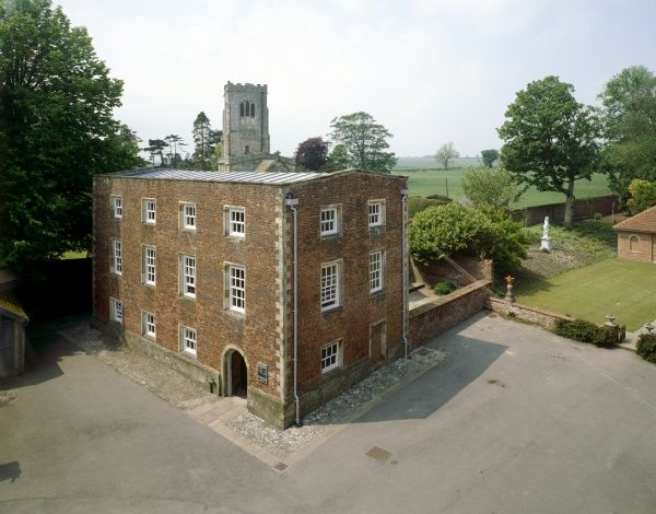 BURTON AGNES MANOR HOUSE, North Humberside, East Riding of Yorkshire. General view of the medieval manor house, encased in brick during the 17th and 18th centuries