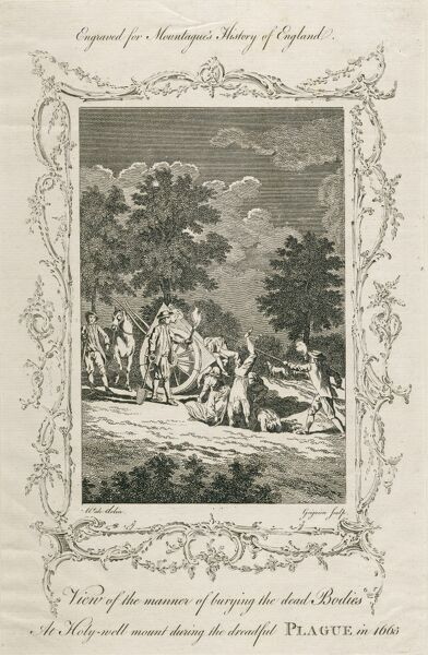 Holywell Lane, Shoreditch, London. The manner of burying the dead bodies at Holywell Mount during the dreadful plague in 1665. Engraved by Grignion after Wale for Montaguea€™s History of England. Mayson Beeton Collection