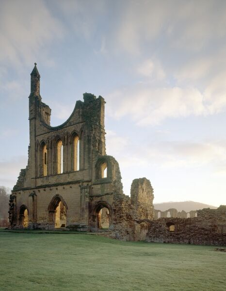 BYLAND ABBEY, North Yorkshire. The West front of the church from the South West