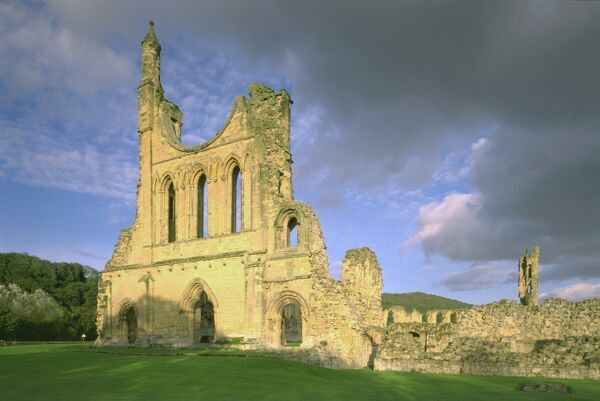 BYLAND ABBEY, North Yorkshire. West front of the church from the South West