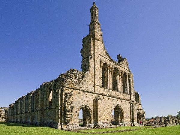 BYLAND ABBEY, North Yorkshire. View of the West Front of the Church