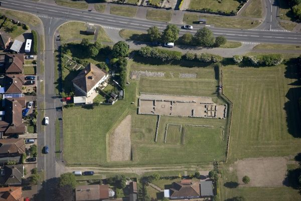 CAISTER ROMAN SITE, Norfolk. Aerial view of the partial excavated remains of a Roman 'Saxon Shore' fort