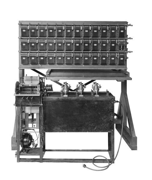 Cut out of a calculating machine. The photograph was taken for the British Tabulating Company, also known as the British Tabulating Machine Company, which was formed in 1902 and later constructed a number of the machines used to break the Enigma