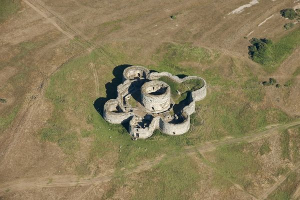 Camber Castle, Rye, East Sussex. Device fort built during the reign of Henry VIII to protect the port of Rye, the harbour at Winchelsea and the Camber anchorage. Formerly on a headland, it is now some way inland due to silting