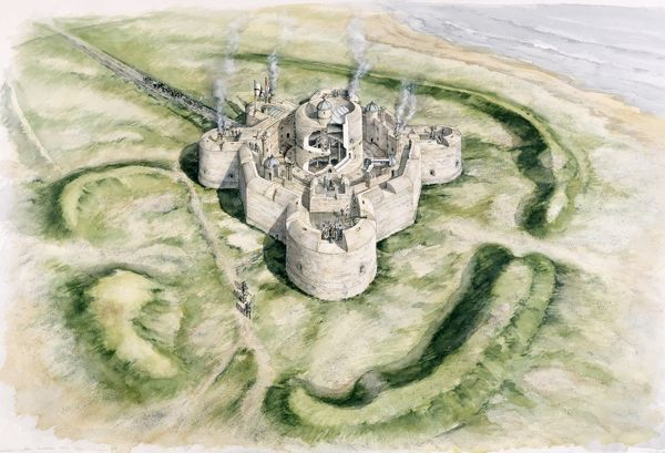 CAMBER CASTLE, Winchelsea, East Sussex. Aerial view, cutaway reconstruction drawing of the castle in 1540 by Peter Dunn (English Heritage Graphics Team)