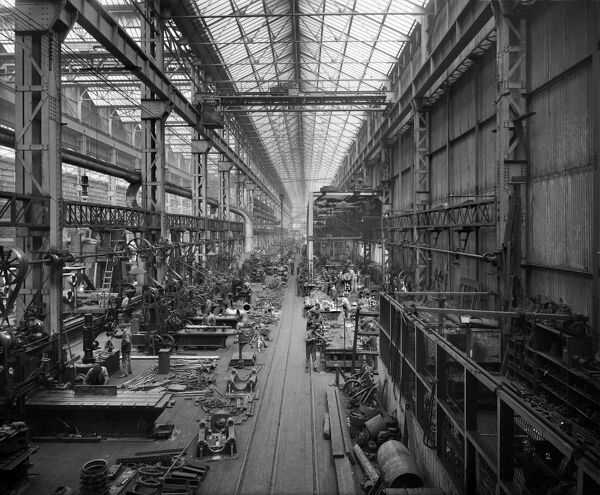 Cammell Laird & Co shipyard, Birkenhead. Interior view showing a bay in the engine shop. One of a series of photographs of Cammell Laird works. Bedford Lemere. June 1913