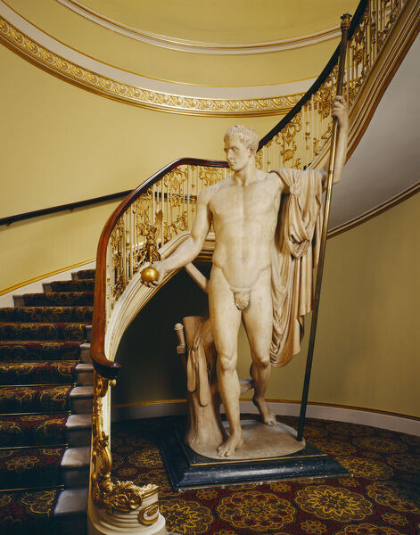 APSLEY HOUSE, London. Interior view of the principal staircase with the statue of Napoleon holding a figure of Victory by Antonio CANOVA (1757-1822)