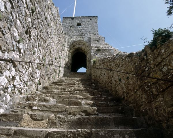CARISBROOKE CASTLE, Isle of Wight. View looking up the steps leading to the Keep