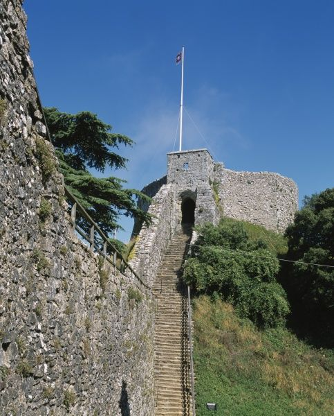 CARISBROOKE CASTLE, Isle of Wight. View of the keep and the steps leading up to it, from the west