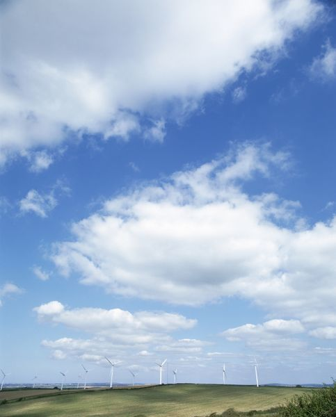 CARLAND CROSS WIND FARM, Cornwall. View of wind turbines against skyline