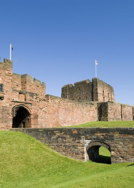 CARLISLE CASTLE, Cumbria. Exterior view of the Keep and Outer Gatehouse