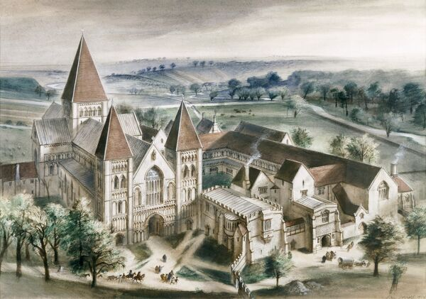 CASTLE ACRE PRIORY, Norfolk. Reconstruction drawing as it might have appeared in 1537 by Alan Sorrell