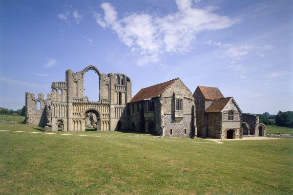 CASTLE ACRE PRIORY, Norfolk. General view of the priory buildings from the north west