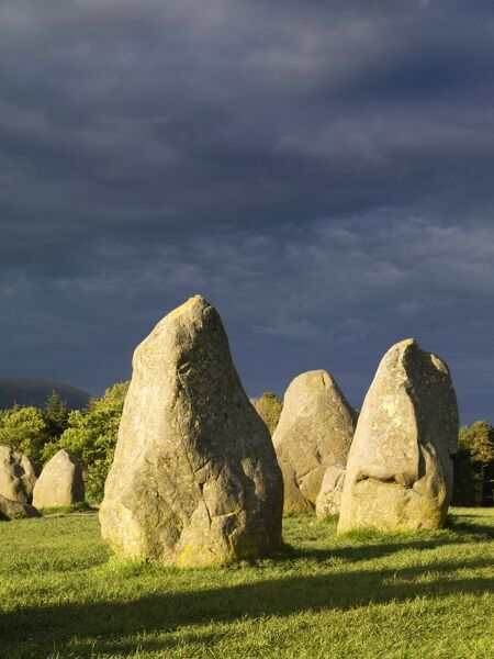 CASTLERIGG STONE CIRCLE, Cumbria. Dark storm clouds loom over the stones