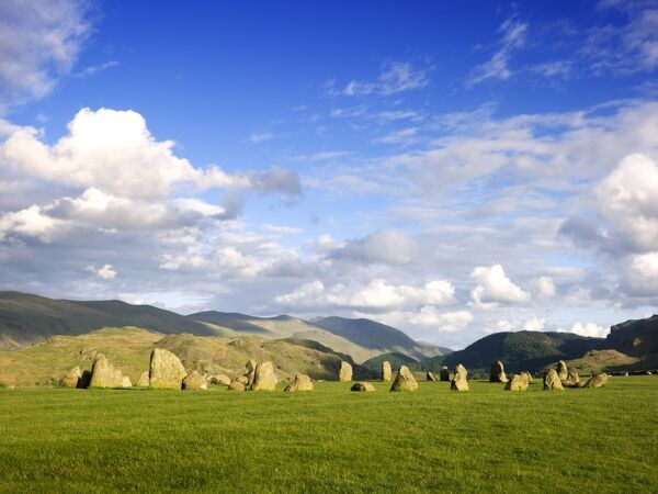 CASTLERIGG STONE CIRCLE, Cumbria. General view of the stones showing the fells in the distance
