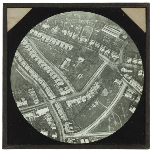 An aerial view of Catford House, Catford Hill, Lewisham and the surrounding streets. Balloon photograph taken from 1900 feet between 1885 and 1887. From the Cecil Victor Shadbolt collection of lantern slides dating from 1882-1892