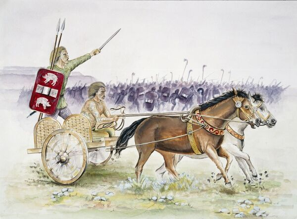 Reconstruction drawing of a horse drawn Celtic chariot and charioteer in Iron Age Britain by Chris Evans (English Heritage Graphics Team)