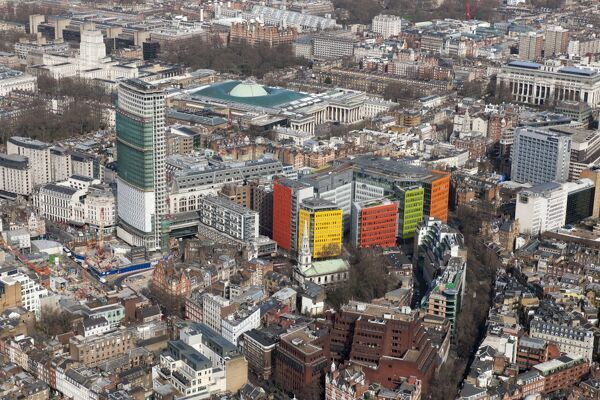 Central St Giles Development, Camden, London. Oblique aerial view showing the development from the south-west, March 2015
